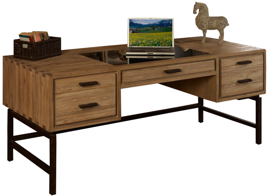 Metro retro solid wood half pedestal office desk ebay - Retro office desk ...