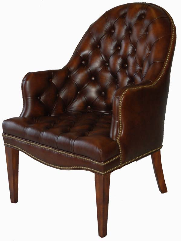 Brown Tufted Leather Executive fice Accent Guest Chair