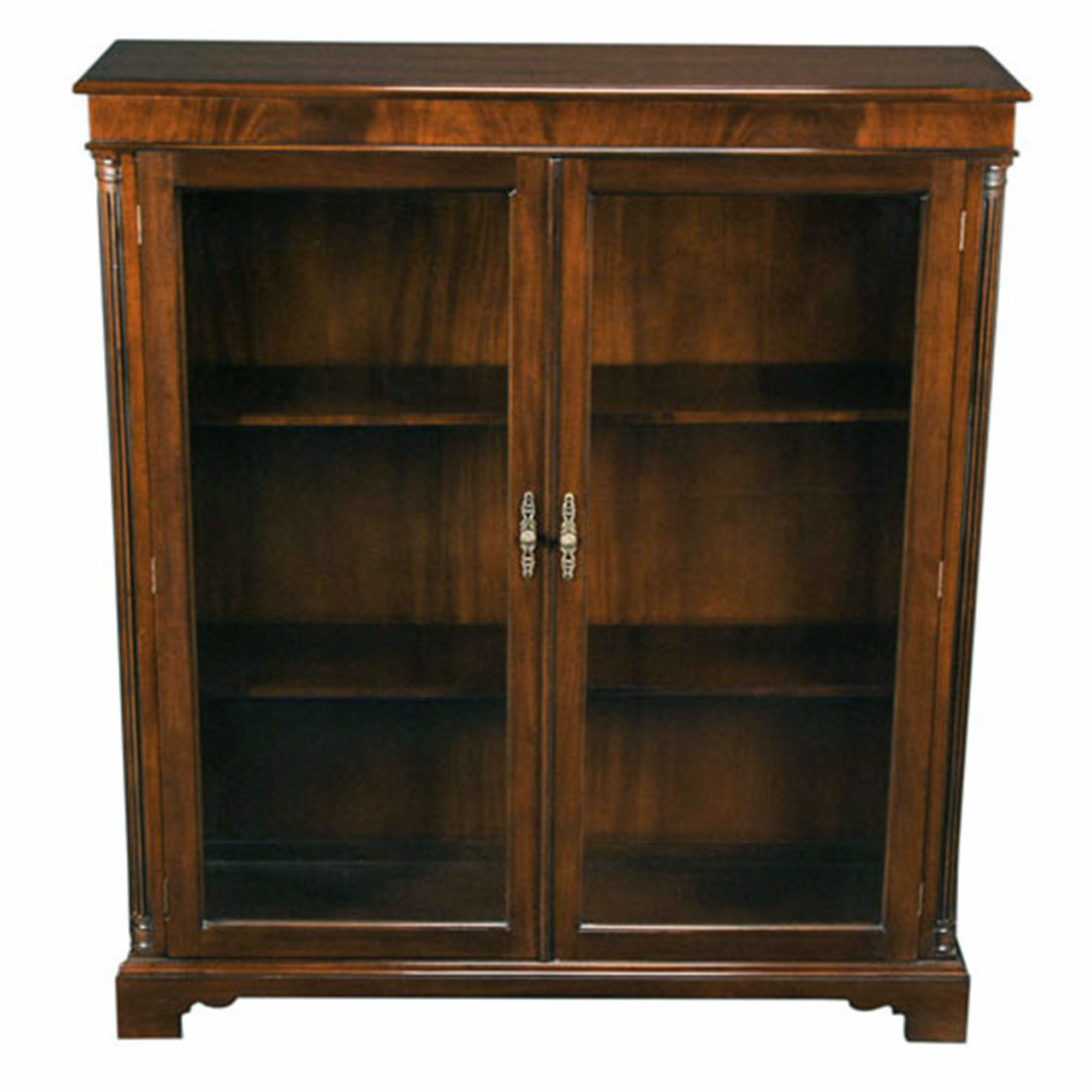 Wood Bookcases With Doors ~ Solid mahogany glass door closed bookcase with adjustable