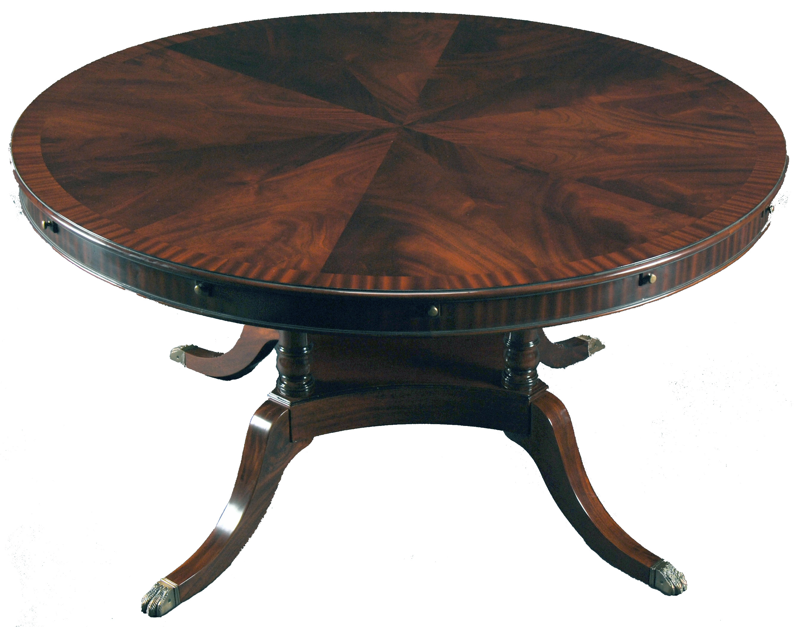 high quality 84 inch diameter round mahogany dining table with perimeter leaves ebay. Black Bedroom Furniture Sets. Home Design Ideas