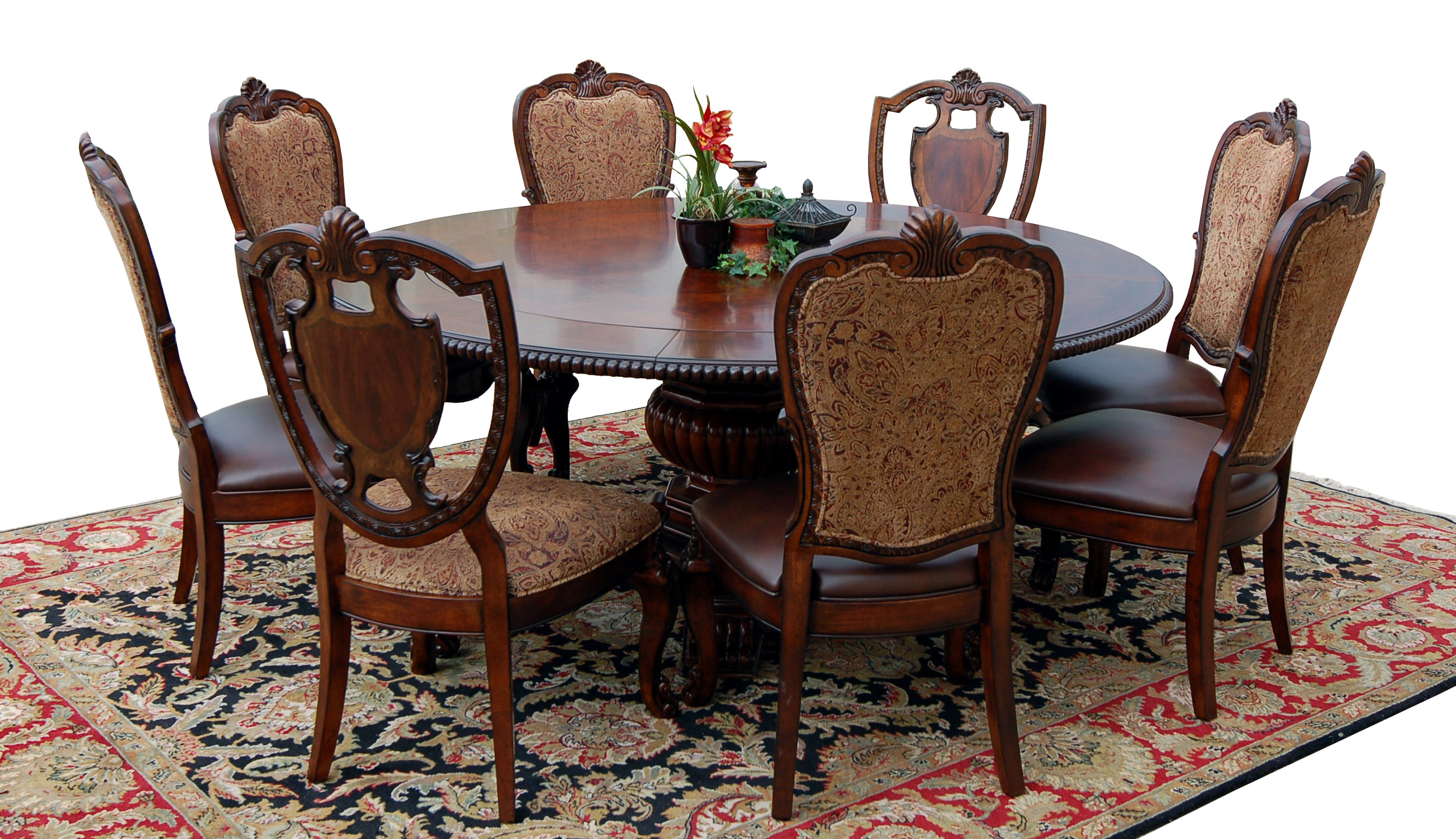 Round 9 Piece Old World Dining Table & Chair Set Cherry