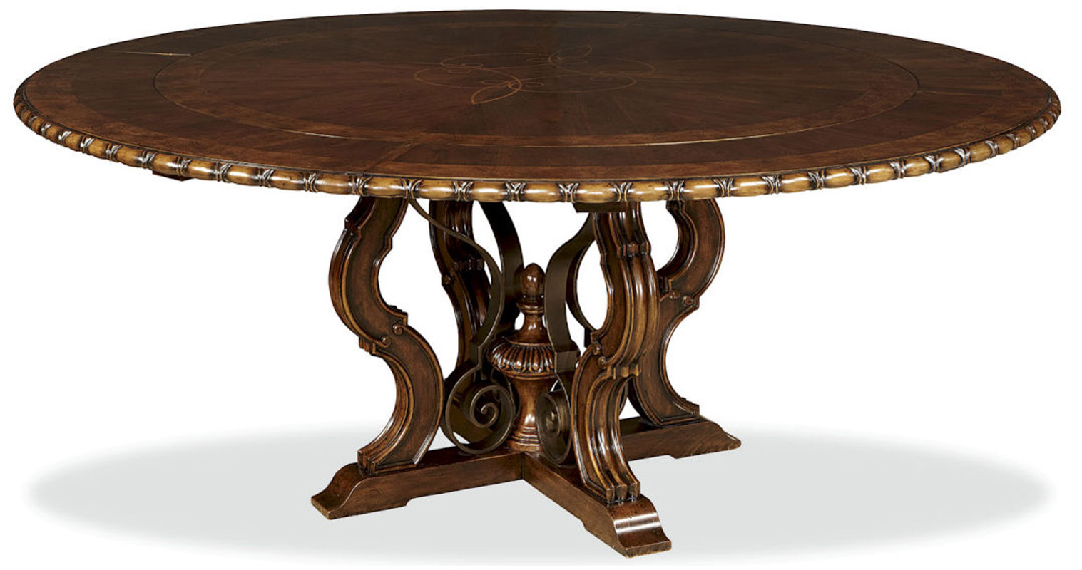 Unique cherry 76 round dining table with leaves ebay for Unique round kitchen tables