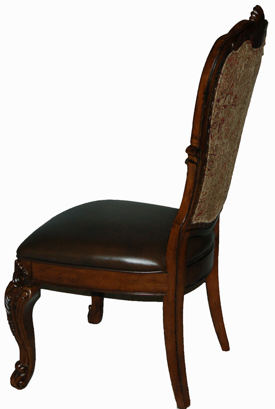 Pair Of Upholstered Back Leather Seat Dining Side Chairs Old World Style