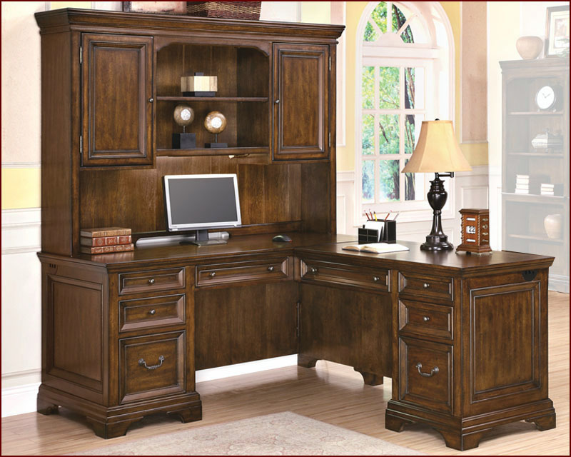 Traditional Cherry fice Executive L Desk with Hutch